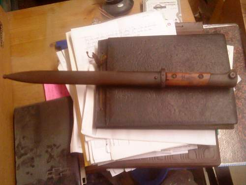 Bayonet with trench art