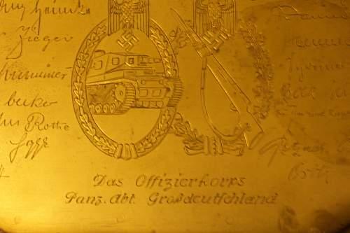 Brass Plaque from Panzer Abt GrossDeutsnchland