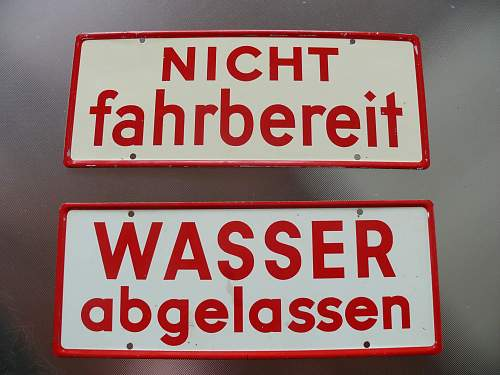 WW2 German vehicle serviceability signs.