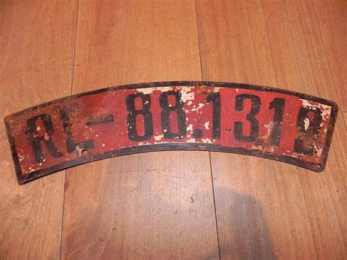 Red license plate for motorcycle