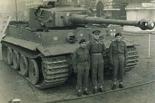 Click image for larger version.  Name:'Catch the Tiger' Picture from the book - major Lidderdal, Lt Cpl Pumfrey and driver Wilkes with.jpg Views:632 Size:48.3 KB ID:959188