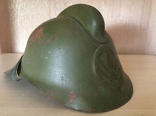 Postwar Soviet firefighters helmet from kolkhoz