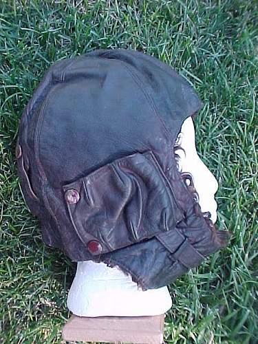 Leather flight helmets