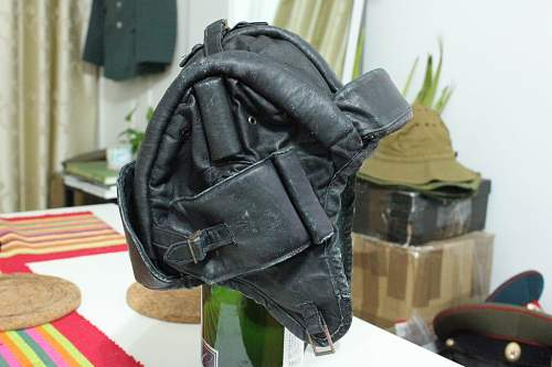 Soviet leather and canvas tank helmets