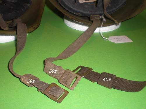 A 1940 dated Ssh 40 helmet with early type chinstraps