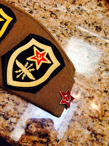 New Soviet Cap with patches and pins