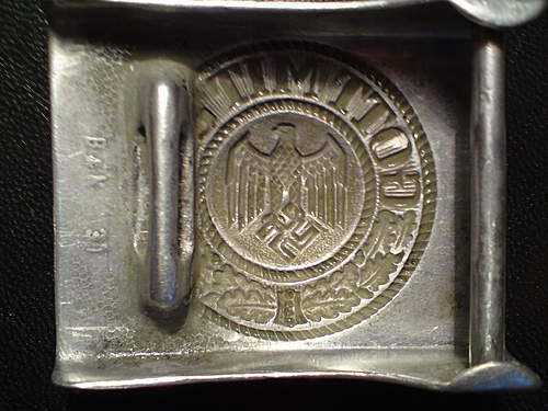 Denazified aluminium Heer buckle B&N 37