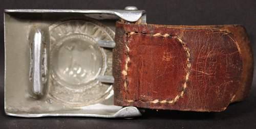 Stamped Aluminium Heer Buckle w/ Leather Tab