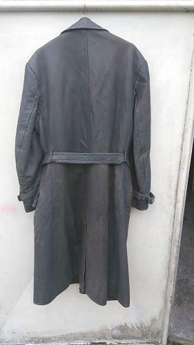 german army officer Leather Trench Coat