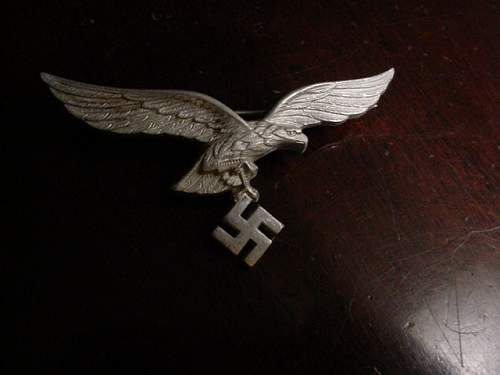 Metal luft breast eagle pin,weird find,opinions