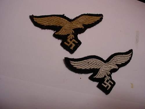2 luft cap eagles on black,Herman Goering Div?