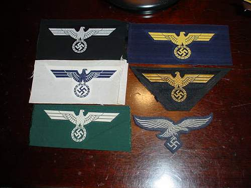 A few breast eagles,different colors,info