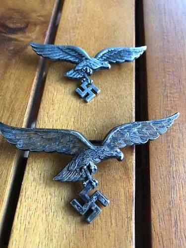 Luftwaffe breast eagle and visor eagle.... Real or fake??