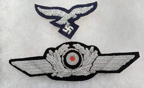 Bullion Luftwaffe Cap Insignias