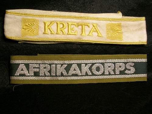 Afrikakorps and Kreta cuff titles: opinions sought.