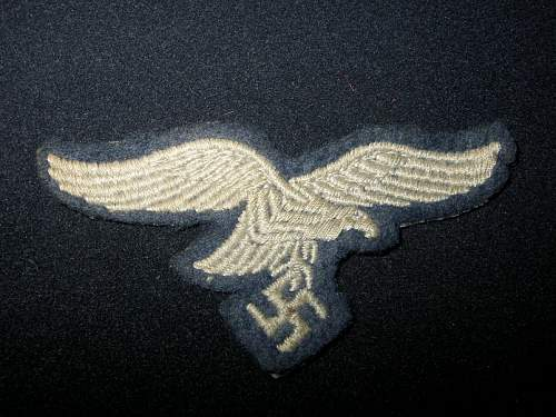 Luftwaffe other ranks embroidered breast eagle ,felt style wool backing -Suspect or not ?