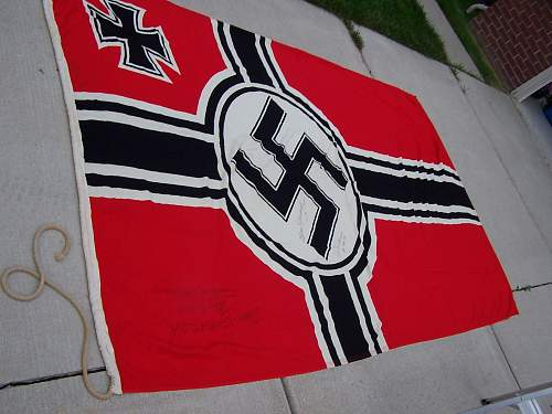 Navy edition Krieg Flag 10ft by 6 ft signed by GI in Lemark 1945 interesting detective work..