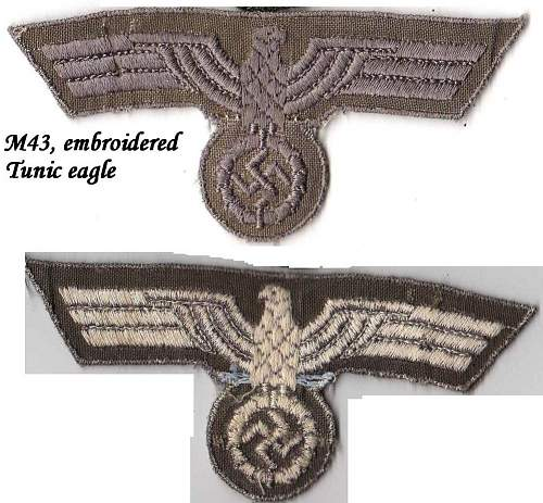 Click image for larger version.  Name:M43 Late war Heer tunic eagle, machine embroidered.jpg Views:110 Size:187.4 KB ID:182470