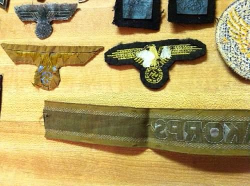 WWII German insignia LOT for sale--SS Afrika Korps Luftwaffe etc