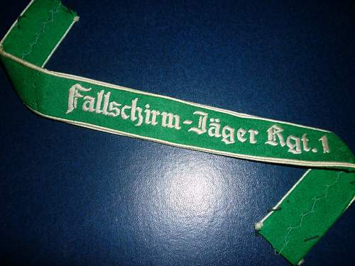 Fallschirmjager REgt 1 Cuff title - I would appreciiate opinions please