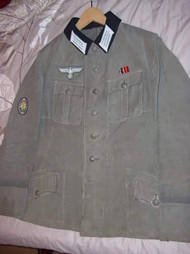 A salty Gebirgsjager Officers moleskin tunic.