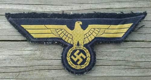 Kriegsmarine breast eagle pick up.