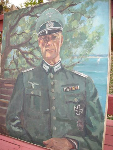 Rare War painting of Nazi Officer with Iron Cross and Wound badge.