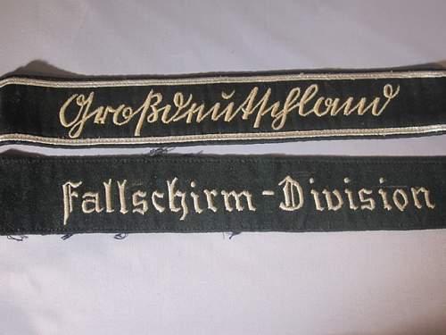 Luftwaffe, Fallschirm and Grossdeutschland cuff titles.