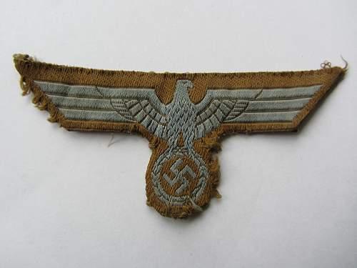 Bevo Heer DAK tropical eagle, tunic removed souvenir
