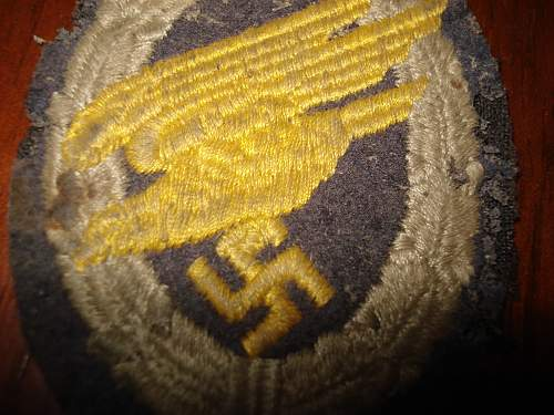 Luftwaffe Cloth Paratrooper Badge, opinions please