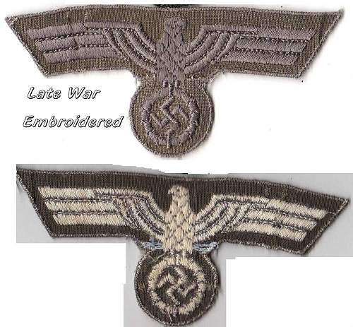 Click image for larger version.  Name:Late war Heer tunic eagle, machine embroidered - Copy.jpg Views:144 Size:287.8 KB ID:469592