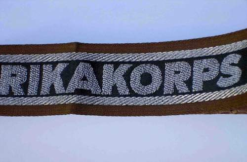 Need Opinions on AFRIKAKORPS Cuff Title Please