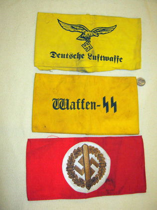 Waffen SS, Luftwaffe and SA sports arm bands. Good?