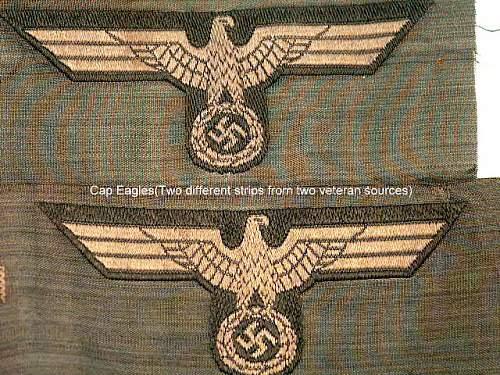 Late war EM Heer cap Eagles.
