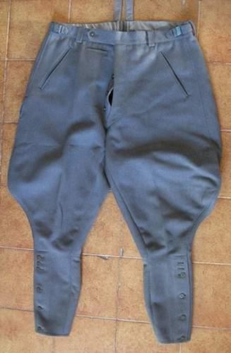 German officer trousers, italian material?