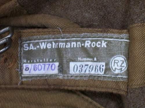 SA Wehrmannschaft Tunic