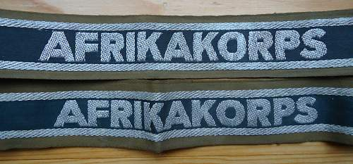AFRIKAKORPS CUFF TITLES for review