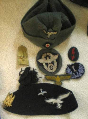 German and other insignia, hats