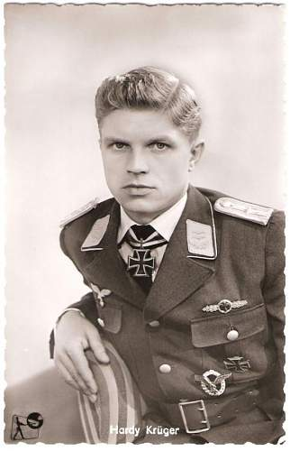 """Hardy Krueger in Luftwaffe uniform, for the 1950's movie """"The One That Got Away"""""""