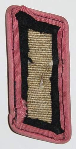 Click image for larger version.  Name:Heer Panzer collar tab. Reverse..JPG Views:311 Size:101.2 KB ID:5946