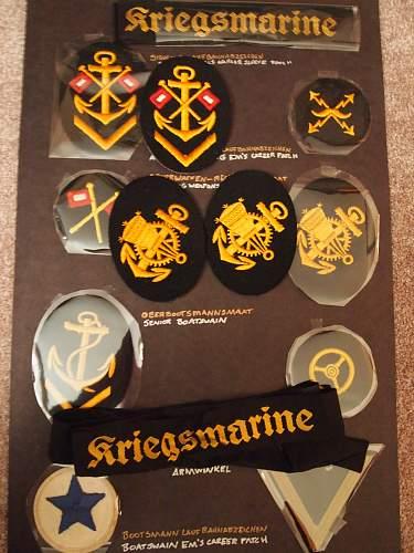 Kriegsmarine Chevron Collection, several examples