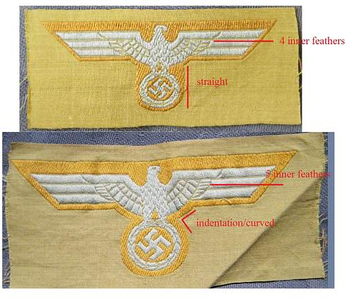Click image for larger version.  Name:heer tunic and cap eagle comparison.jpg Views:41 Size:170.9 KB ID:643339