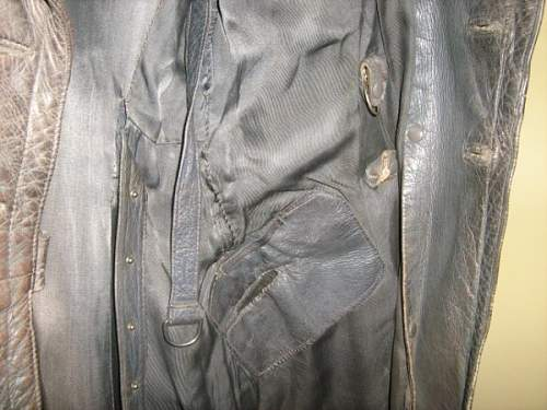Army infantry officers full length leather coat