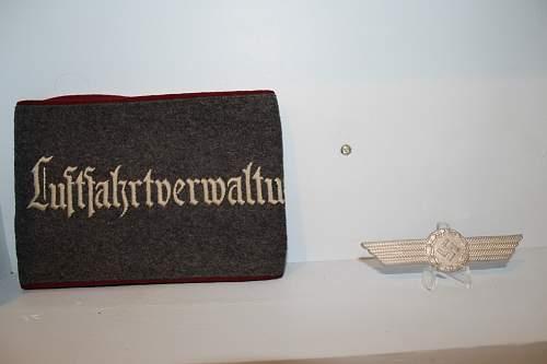 reichsluftministerium armband and cap badge