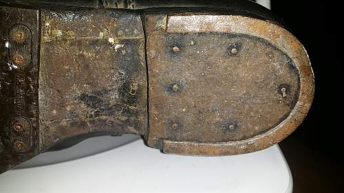 German boots for motorcycle or tank with swastika mark