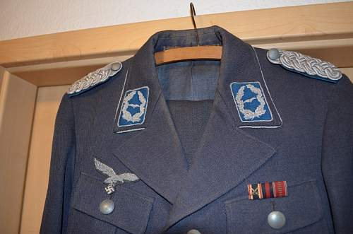 "Luftwaffe Officer Uniform of a Major im ""Truppensonderdienst"" with pants and boots and officer visor cap"