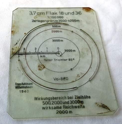 1940 dated Flak range card