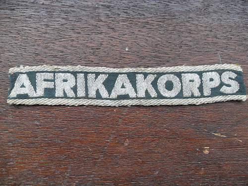 Afrikakorps cuff title and bits?
