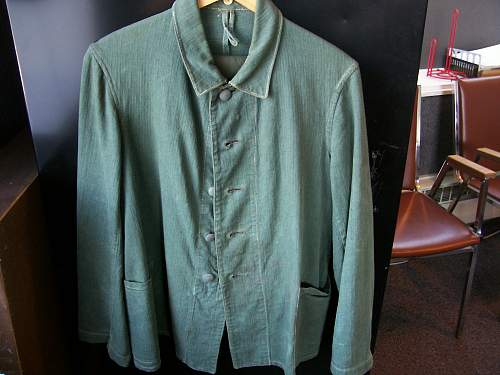 M33 Drillich - reed green with repairs and wear