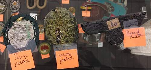 """Antique score case finds for authentication, lot of insignia and patches. """"from Germany and Australia"""""""